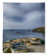 Boats At The Lizard Fleece Blanket
