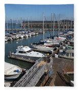 Boats At The San Francisco Pier 39 Docks 5d26004 Fleece Blanket
