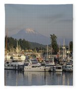 Boats Docked At A Harbor With Mountain Fleece Blanket