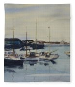 Boats In A Harbour Fleece Blanket