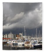 Boats In A Marina Fleece Blanket