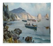 Boats In A Rocky Cove  Fleece Blanket