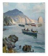 Boats In A Rocky Cove  Fleece Blanket