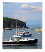 Boats In Bar Harbor Fleece Blanket