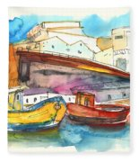 Boats In Ericeira In Portugal Fleece Blanket