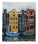 Boats In Front Of The Buildings Vi Fleece Blanket
