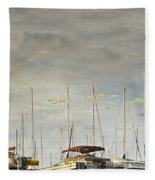Boats In Harbor Reflection Fleece Blanket