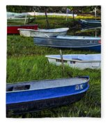 Boats In Marsh - Cape Neddick - Maine Fleece Blanket