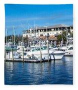 Boats In Port 5 Fleece Blanket