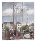 Boats In The Harbor 1905 Fleece Blanket