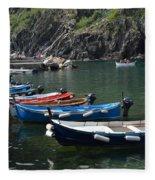 Boats In Vernazza Fleece Blanket