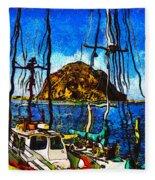 Boats Of Morro Bay Fleece Blanket