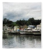 Boats On A Cloudy Day Essex Ct Fleece Blanket