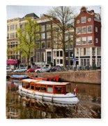 Boats On Canal In Amsterdam Fleece Blanket