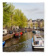 Boats On Canal Tour In Amsterdam Fleece Blanket