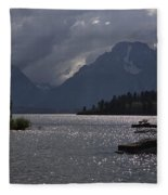 Boats On Jackson Lake - Grand Tetons Fleece Blanket