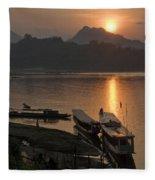 Boats On River By Luang Prabang Laos  Fleece Blanket