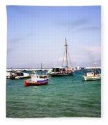 Boats On The Aegean Sea 1 - Mykonos - Greece Fleece Blanket
