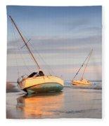 Accidentally - Boats On The Beach Fleece Blanket