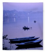 Boats On The Ganges River Fleece Blanket