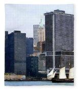 Boats - Schooner Against The Manhattan Skyline Fleece Blanket