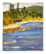 Boatsheds At Sandon Point Fleece Blanket