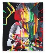 Bob Marley And Rasta Lion Fleece Blanket
