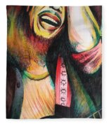 Bob Marley In Agony Fleece Blanket