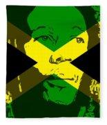 Bob Marley On Jamaican Flag Fleece Blanket