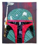 Boba Fett Star Wars Bounty Hunter Helmet Recycled License Plate Art Fleece Blanket