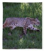 Bobcat On The Move Fleece Blanket