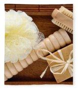 Body Care Accessories In Wood Tray Fleece Blanket