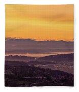 Boeing Seatac And Rainier Sunrise Fleece Blanket