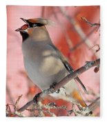 Bohemian Waxwing Fleece Blanket