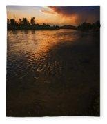 Boise River Dramatic Sunset Fleece Blanket