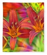 Bold And Beautiful Daylilies Fleece Blanket