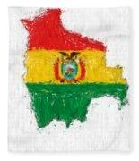 Bolivia Painted Flag Map Fleece Blanket