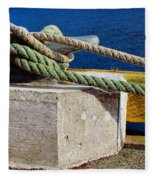 Bollard Closeup - Ropes - Mooring Lines - Wharf Fleece Blanket