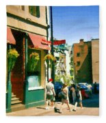 Bonaparte 4 Star Classic French Resto Vieux Montreal Paris Style Bistro Paintings Carole Spandau Art Fleece Blanket