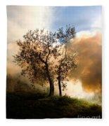 Bonfire And Olive Tree Fleece Blanket