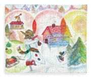 Bonnefemme De Neige / Snow Woman Fleece Blanket