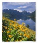 M-05921-bonneville Mountain Reflected In Wallow Lake Fleece Blanket
