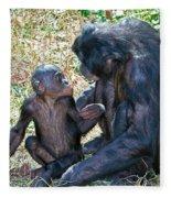 Bonobo Adult Talking To Juvenile Fleece Blanket