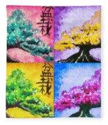 Bonsai Pop Art Fleece Blanket
