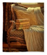 Books On Victorian Sofa Fleece Blanket