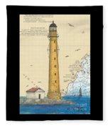 Boon Island Lighthouse Me Chart Art Cathy Peek Fleece Blanket
