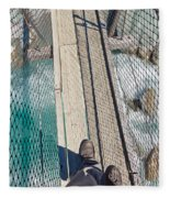 Boots On Swing Bridge Over Troubled White Water Fleece Blanket