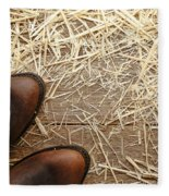 Boots On Wood Fleece Blanket