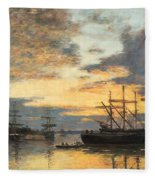 Bordeaux In The Harbor Fleece Blanket