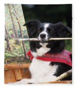 Border Collie At Painting Easel Fleece Blanket